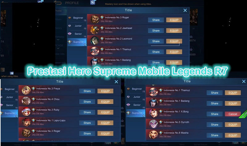 Banyak Prestasi Hero Supreme Mobile Legends di Akun Milik R7